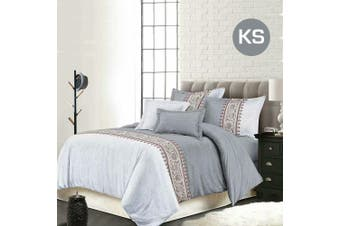 King Single Size Bohemian Grey Quilt/Doona Cover Set