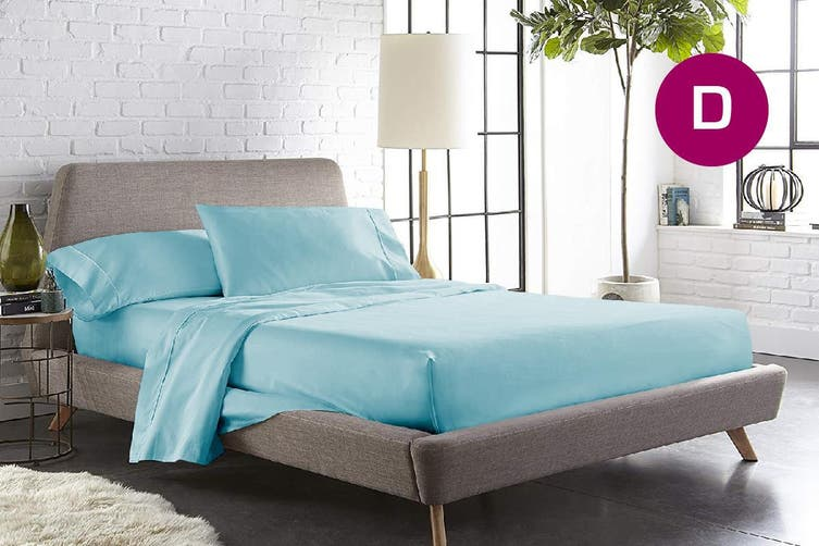 Double Size Aqua Color 1000TC 100% Cotton Fittd Sheet Flat Sheet Pillowcase Set