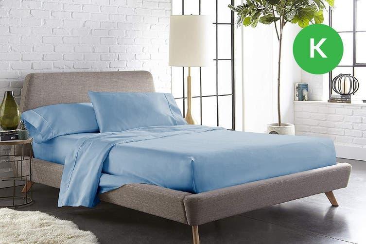 King Size Sky Color 1000TC 100% Cotton Fittd Sheet Flat Sheet Pillowcase Set