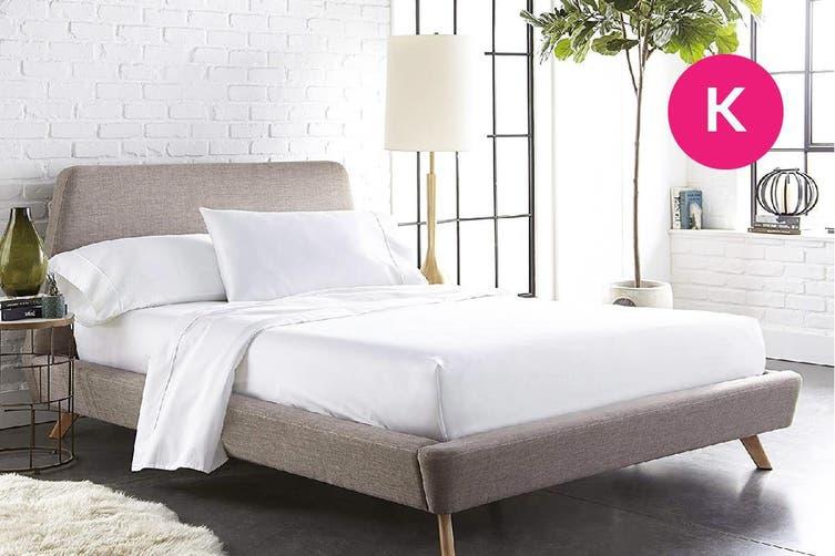 King Size White Color 1000TC 100% Cotton Fittd Sheet Flat Sheet Pillowcase Set
