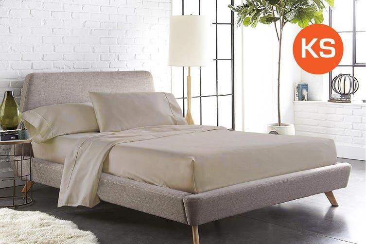 King Single Size Linen Color 1000TC 100% Cotton Fittd Sheet Flat Sheet Pillowcase Set