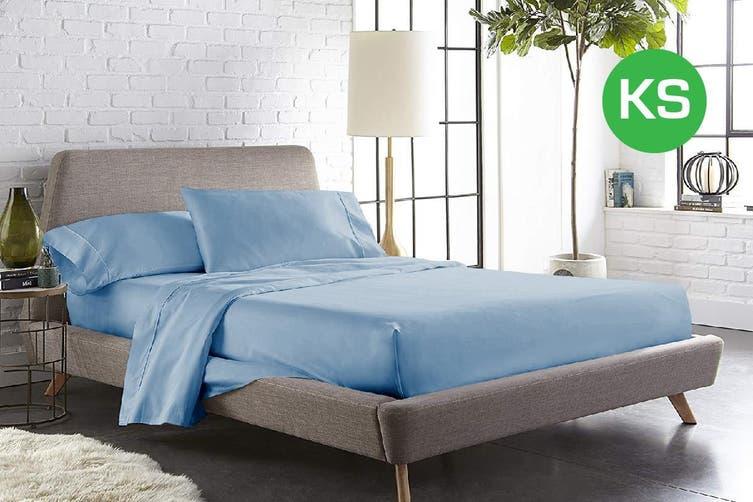 King Single Size Sky Color 1000TC 100% Cotton Fittd Sheet Flat Sheet Pillowcase Set