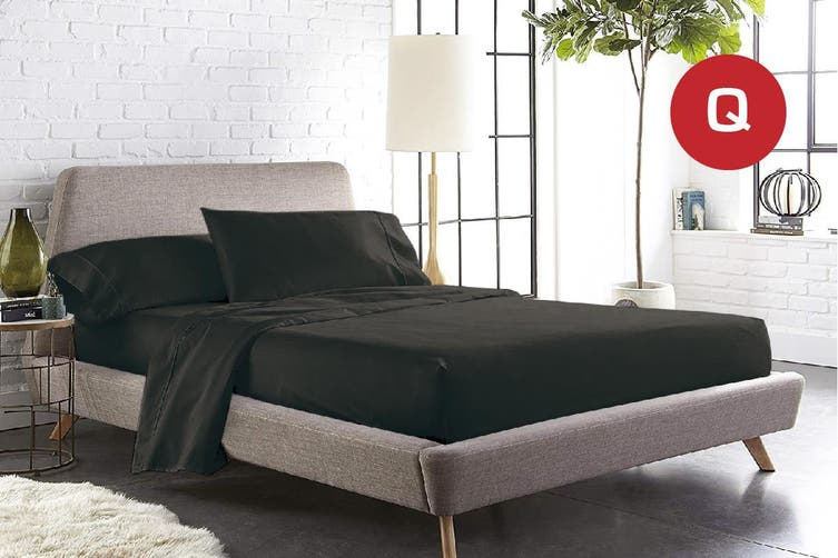 Queen Size Black Color 1000TC 100% Cotton Fittd Sheet Flat Sheet Pillowcase Set