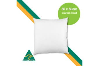 Aus Made 50 x 50cm Cushion Insert Polyester Premium Lofty Fibre