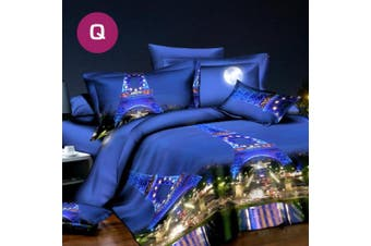 Queen Size Charm Paris Quilt/Doona Cover Set