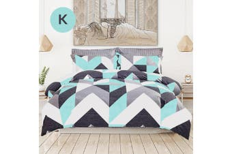 King Size Chevron Design Cotton Quilt Cover Set