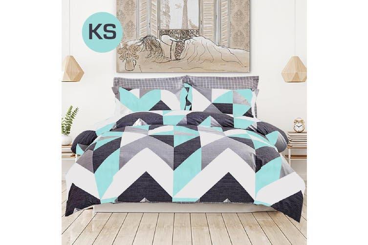 King Single Size Chevron Design Cotton Quilt Cover Set