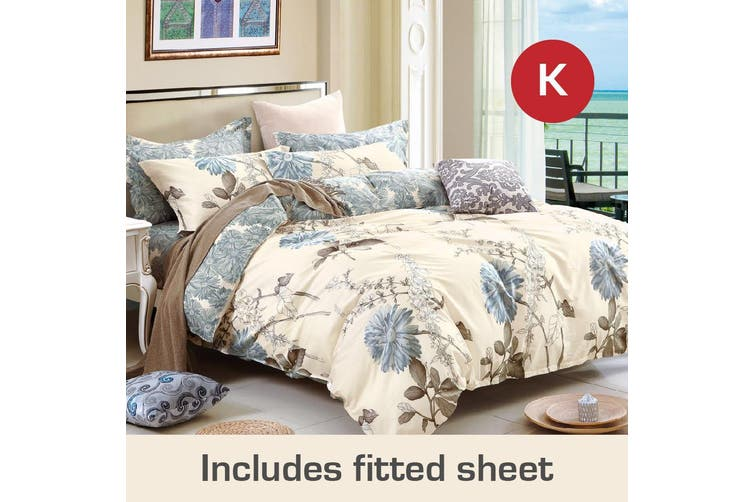 King Size Dandelion Design Cotton Quilt Cover + Fitted Sheet