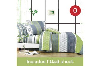 Queen Size Dexter Design Cotton Quilt Cover +Fitted Sheet