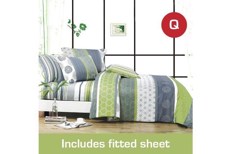 Queen Size Dexter Design Cotton Quilt Cover +Fitted Sheet