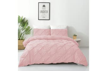 King Size Diamond Embroidery Pintuck Quilt/Duvet Cover Set-Blush