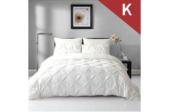 King Size Diamond Embroidery Pintuck Quilt/Duvet Cover Set-Snow