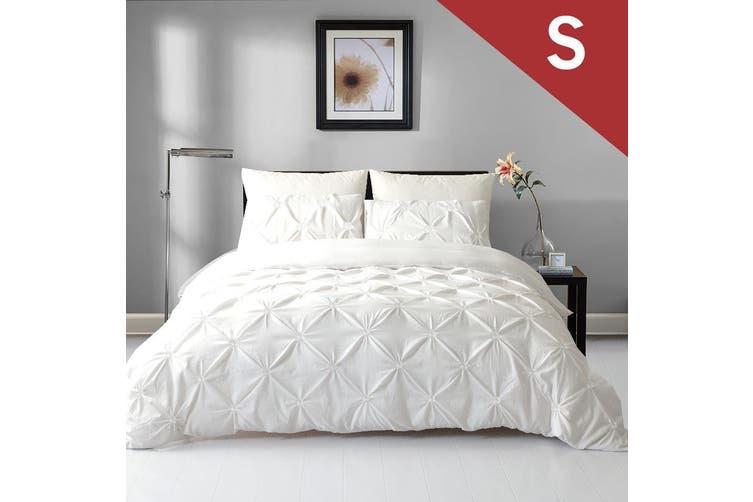 Single Size Diamond Embroidery Pintuck Quilt/Duvet Cover Set-Snow