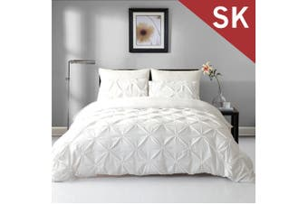 Super King Size Diamond Embroidery Pintuck Quilt/Duvet Cover Set-Snow