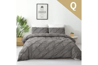 Queen Size Diamond Embroidery Pintuck Quilt/Duvet Cover Set-Stone