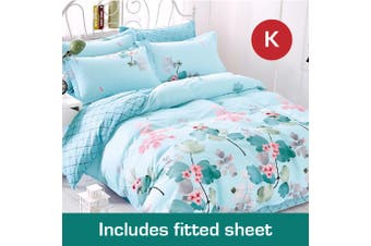 King Size DreamOn Design Cotton Quilt Cover + Fitted Sheet
