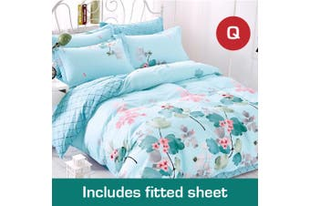 Queen Size DreamOn Design Cotton Quilt Cover +Fitted Sheet