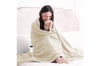 Washable Electric Heated Blanket Fleece Throw Rug (Cream)