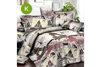 King Size Eiffel Tower Quilt/Doona Cover Set