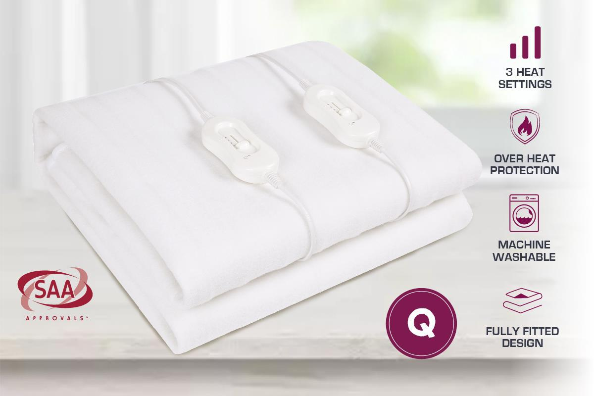 Fully Fitted Washable Non Woven Polyester Electric Blanket Heated Pad S//KS//D//Q//K