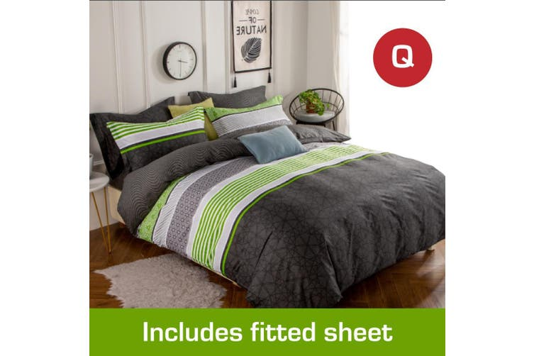 Queen Size Emerald Design Cotton Quilt Cover +Fitted Sheet