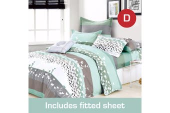 Double Size Fall-In-Love Design Cotton Quilt Cover + Fitted Sheet