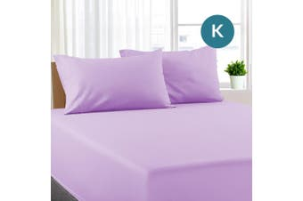 King Size Lilac Color Poly Cotton Fitted Sheet + Pillowcase
