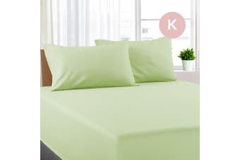 King Size Pistachio Color Poly Cotton Fitted Sheet + Pillowcase