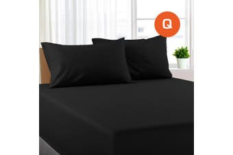 Queen Size Black Color Poly Cotton Fitted Sheet + Pillowcase