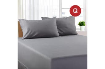 Queen Size Grey Color Poly Cotton Fitted Sheet + Pillowcase