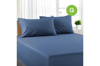 Queen Size Ocean Color Poly Cotton Fitted Sheet + Pillowcase