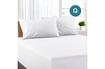 Queen Size White Color Poly Cotton Fitted Sheet + Pillowcase