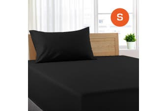 Single Size Black Color Poly Cotton Fitted Sheet + Pillowcase