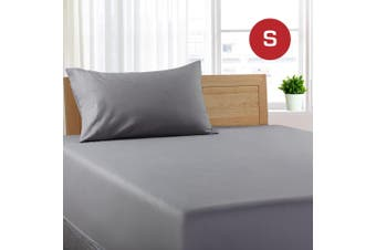 Single Size Grey Color Poly Cotton Fitted Sheet + Pillowcase