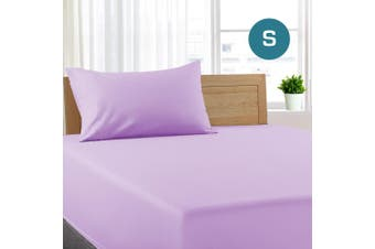 Single Size Lilac Color Poly Cotton Fitted Sheet + Pillowcase
