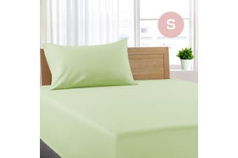 Single Size Pistachio Color Poly Cotton Fitted Sheet + Pillowcase