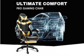 Ultimate Comfort Pro Gaming Chair Racing Office Chair Gold with Footrest