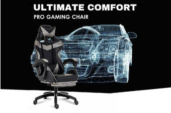 Ultimate Comfort Pro Gaming Chair Racing Office Chair Grey with Footrest