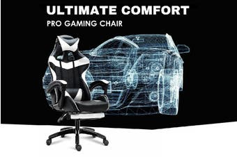 Ultimate Comfort Pro Gaming Chair Racing Office Chair White with Footrest
