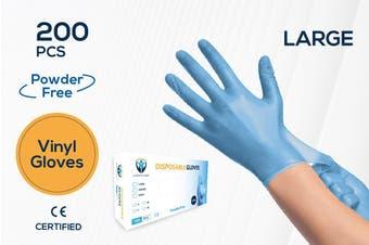 200Pcs(100 Pairs) VINYL Blue Color Disposable Hand Gloves Large