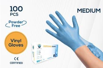 100Pcs(50 Pairs)  VINYL Blue Color Disposable Hand Gloves Medium