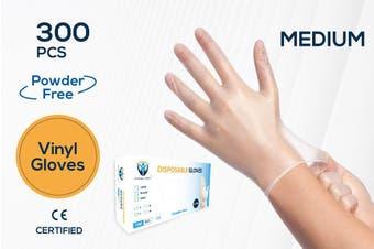 300Pcs(150 Pairs) VINYL White Color Disposable Hand Gloves Medium