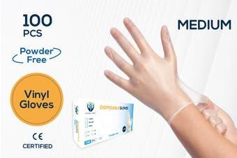 100Pcs(50 Pairs)  VINYL White Color Disposable Hand Gloves Medium