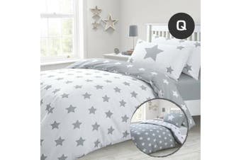 Queen Size Grizzle Stars Quilt/Doona Cover Set