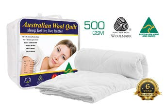 Single Size 500GSM 100% Australian Made Merino Wool Quilt/Duvet/Doona