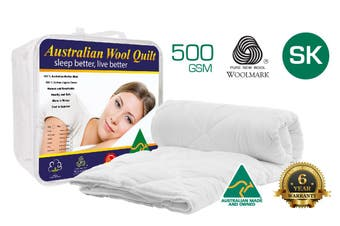 Super King Size 500GSM 100% Australian Made Merino Wool Quilt/Duvet/Doona