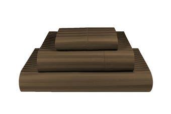 King Single Chocolate 1000TC Microfibre 1cm Stripe Fitted, Flat Sheet Set