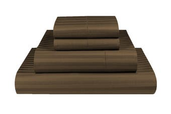 King Chocolate 1000TC Microfibre 1cm Stripe Fitted, Flat Sheet Set