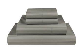 King Grey 1000TC Microfibre 1cm Stripe Fitted, Flat Sheet Set