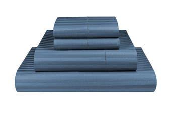 King Ocean 1000TC Microfibre 1cm Stripe Fitted, Flat Sheet Set